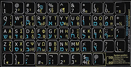 Tastatur-Aufkleber, Hebräisch-Griechisch-Englisch, nicht transparent