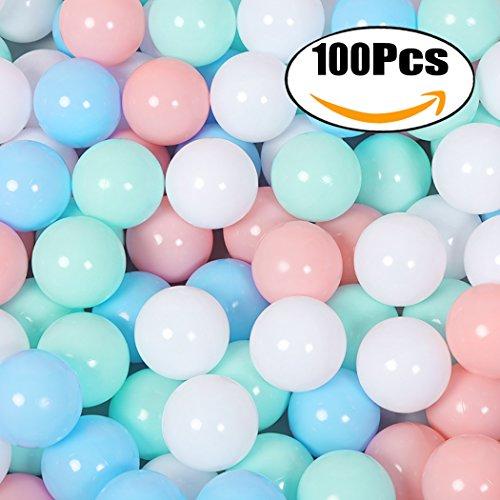 FunPa Bolas de Plástico para Piscina, 100 Piezas Bolas para Bebés Bolas Coloridas para el Océano Bolas para Jugar para los Niños Túnel Tienda de Campaña Juguete de Natación Decoración de Fiesta