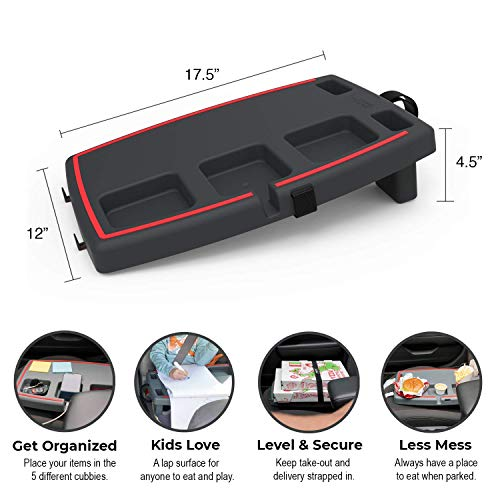 STUPID Car Anti-Slip Multi-Compartment Car Organizer & Food Tray with Cargo Straps & Hooks, Black/Red