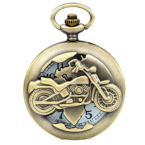 JewelryWe Vintage Bronze Motorrad Taschenuhr Herren Analog Quarz Uhr mit Halskette Kette Umhängeuhr Pocket Watch Vatertagsgeschenk