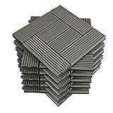 WOLTU 11 pieces WPC terrace tiles wood look light gray, tile click system terrace flooring floor tile click tile floor covering (1 m²)