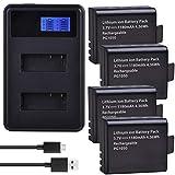 Grehod PG1050 3,7 V 1180 mAh baterías + LCD Cargador de batería USB Dual para SJCAM SJ4000 M10 SJ5000 SJ5000X para EKEN H9 H9R H8R H8 Git PG900 4Batteryandcharger