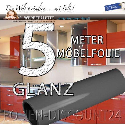 Folie-Dicount24 (EUR 5,69 / vierkante meter) keukenfolie meubelfolie Basalt Grey hoogglans 3112 donkergrijs PRIJS TIP! (5 meter x 61 cm)