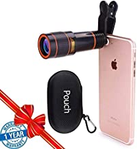 Cell Phone Camera Lens, sevenka 12X Telephoto Universal Clip On hd Zoom Lens Compatible with iPhone 11 Pro Max X XS Max XR/8/7/6/6s, Samsung, Android and SmartPhone with Travel Case