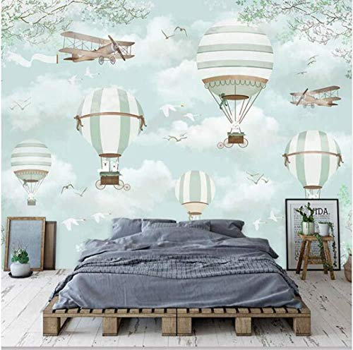 Papel tapiz para niños en globo aerostático Papel tapiz para niños en mural Papel tapiz para niños en 3D Dormitorio Decoración para el Papel tapiz no tejido Papel tapiz 3D Decoración-300cm×210cm
