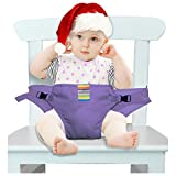 Der waschbare tragbare Reise Hochstuhl Booster Babysitz mit Riemen Kleinkind -Sicherheitsgurt Schätzchenspeicherung den Gurt (6 Farben) (lila)