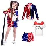 CBBI-WCCI Ragazza Harlequin Outfit del Vestito Operato dai Bambini delle Ragazze Carnevale di Halloween FancyDress (Rosso, 9-12 Anni (140-155 cm))