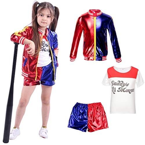 Kids Harley Quinn Vestiti per Ragazze Suicide Squad Coat + Shorts + T-Shirt Set Suit Rosso (6-7 Years(120cm-130cm Child))