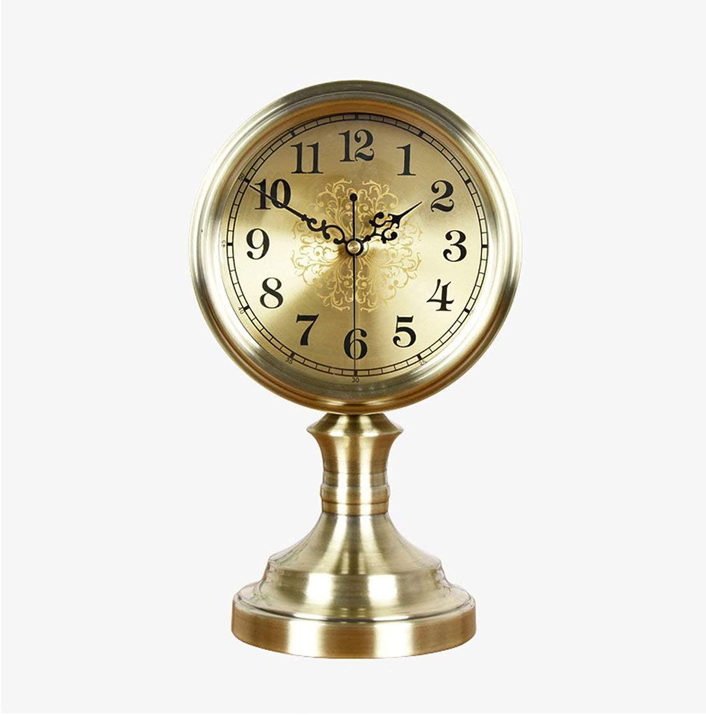 デスククロックファミリークロック置時計レトロなリビングルームの装飾時計、金属の非カチカチの棚のクロックリビングルームの寝室のオフィスに適して