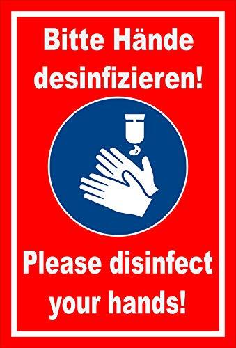 Melis Folienwerkstatt Schild Hände desinfizieren 2-sprachig 30x20cm - Bohrlöcher - 3mm Aluverbund – 20 VAR S00225-045-D