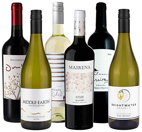 Atlantik Weine, Übersee Weinpaket zum Grillen, Weinpaket mit Rotwein und Weisswein aus Neuseeland, Argentinien und Uruguay (6 x 0,75l)