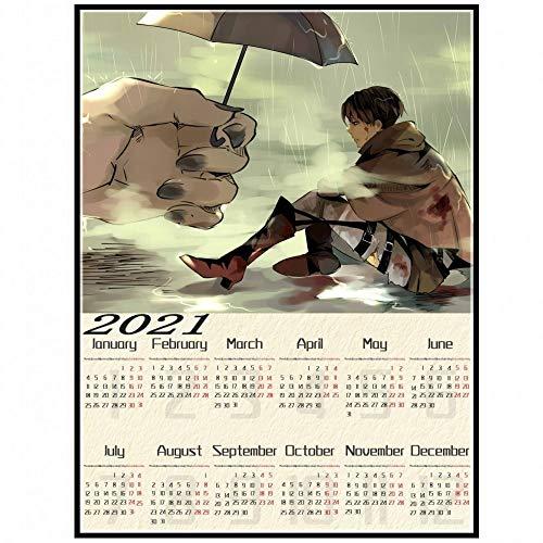 BLOUR Angriff auf Titan Poster Japanischer Anime Weiß beschichtet 2021 Kalender Papier Drucke Klare Wandaufkleber Raumdekoration Tapete
