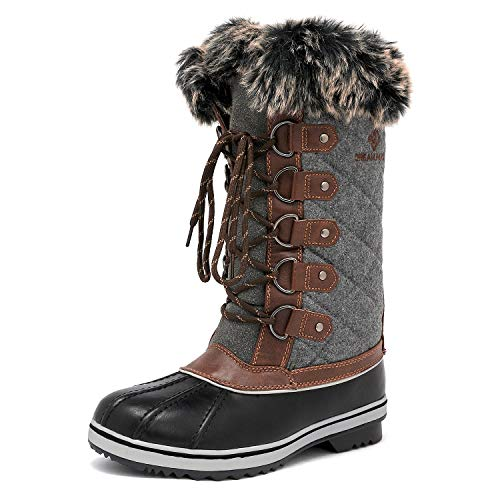 DREAM PAIRS Women's River_1 Black Grey Mid Calf Winter Snow Boots Size 8 M US