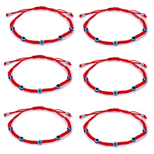 6pcs Evil Eye String Kabbalah Bracelets for Protection and Luck Hand-Woven Red Rope Cord Thread Friendship Bracelet Anklet (HS028-5)