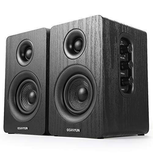 Sanyun SW208 3' Active Bookshelf Speakers - 25w x 2 Powered Computer PC...