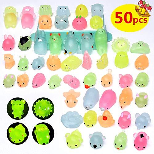 Yetech 50pcs Iluminar Squishy Kawaii Mini Kawaii Suave Juguetes Squeeze Toy Stress Reliever para Niños Adultos Fiesta de Cumpleaños Bolsas Favor Regalos.