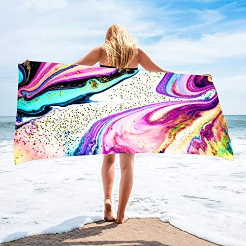 Toallas de Playa 3D 80 x 160 cm Toalla de Playa de Microfibra Supersuave Toalla Deportiva Secado Rápido Absorbente para Deportes, Viajes, Camping Esterilla de Yoga Mármol Rosa
