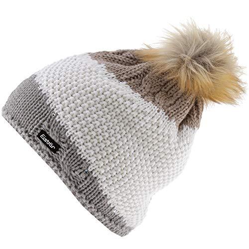 Eisbär Damen Eden Lux Crystal Mütze, graumele/White/Beigemel, One Size