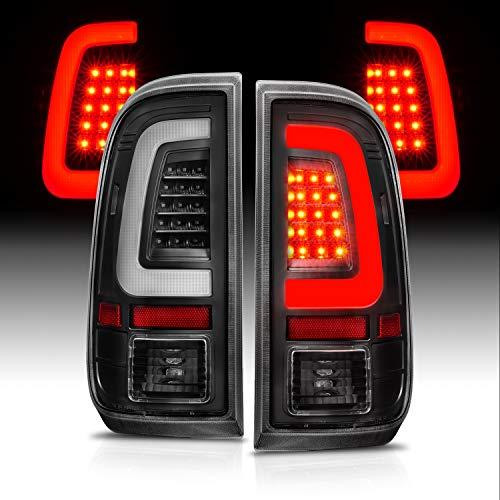 AmeriLite for 2008-2016 Ford F250 F350 F450 SD Black C-Type LED Tube Tail Lights w/Reverse Bulb - Passenger and Driver Side