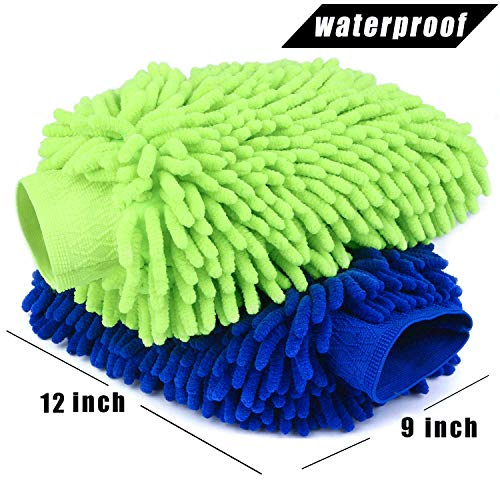ZRZ Car Wash Mitt 2 Pack - 12 X 9 Inch Extra Large Size Clean Tools Kits- Premium Chenille Microfiber Winter Waterproof Cleaning Mitts - Washing Glove with Lint Free & Scratch Free