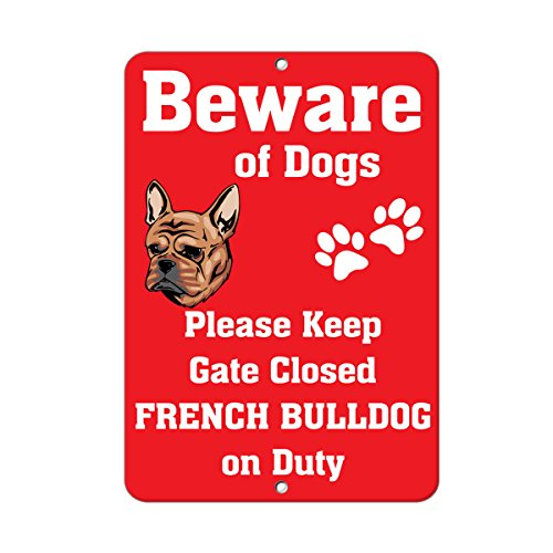 Fastasticdeals French Bulldog Dog Beware of Fun Novelty Metal Sign