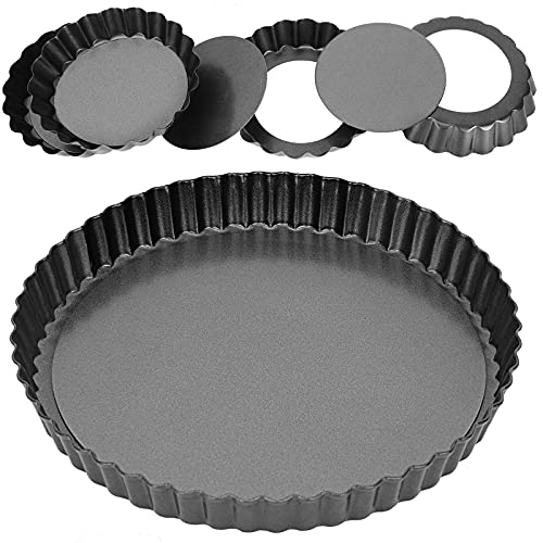 Tart Pans with Removable Bottom, 9 Inch Quiche Pan and 4 Inch Mini Pans for Baking Pies, Cakes, Tartlet and Tart, Non-Stick Tart Tin, Baking Dish Pan, Set of 5