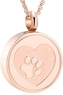 Hearbeingt Dog Paw Keepsake Necklaces Cat Memorial Pendant, Stainless Steel Cremation Jewelry for Ashes for Pet (Rose Gold)
