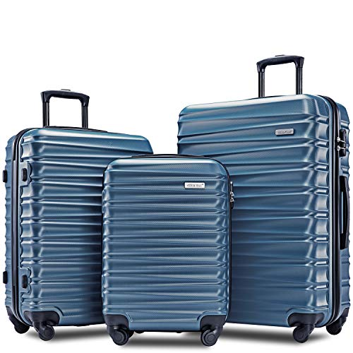 Merax Afuture Luggage Set Hardside Lightweight Spinner Suitcase 20' 24' 28' (Steel Blue)