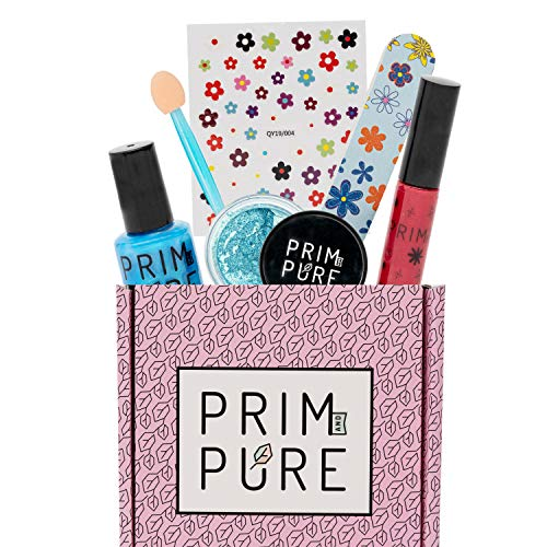 Prim and Pure Starter Gift Set | Organic & Natural Makeup Kit for Kids | Perfect for Play Dates & Birthday Parties | Kids Eyeshadow Makeup – Nail Polish for Kids – Kids Lip Gloss | Made in USA (Blue)