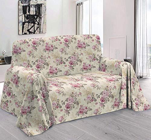 L'EMPORIO CASA Telo Arredo Copridivano con Elegante Motivo Floreale a Rose, qualità Made in Italy – Lenzuolo Copritutto Multiuso in Cotone – Granfoulard Copriletto (260X280)