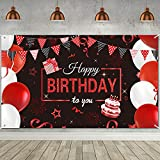 Red Birthday Banner Decorations Red Black Birthday Backdrop, Large Red Black...