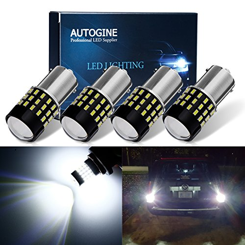 AUTOGINE 4 X 1000 Lumens Super Bright 9-30V 1156 1003 1141 7506 BA15S LED Bulbs 3014 54-EX Chipsets with Projector for Back Up Reverse Lights DRL Tail Brake Lights, Xenon White