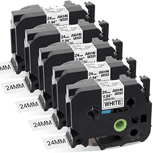 Aken kompatibel Schriftband als Ersatz für Brother P-touch Tze 24mm Band TZe-251 TZe251 TZ-251 schwawrz auf weiß- Für Beschriftungsgerät P-touch Cube P700 2430 D600 9700PC P750W, 5er Packung