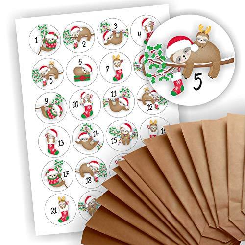 Play-Too Adventskalender zum Befüllen 24 braune Geschenktüten Kraftpapiertüten + 24 weihnachtliche Aufkleber Papiertüte DIY Faultier