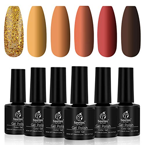 Beetles Gel Polish Gold Yellow Red Set, Fall 6 Colors Nail Polish Autumn Pumpkin Spice Orange Glitter Gel Nail Polish...