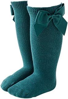 PAADIYA, Bebé Algodón Medias Nudo cálido con lazo grande Medias de bebé Estilo español Calentador de pierna Suave Calcetines de baile por 0-7 años Bebé Niña