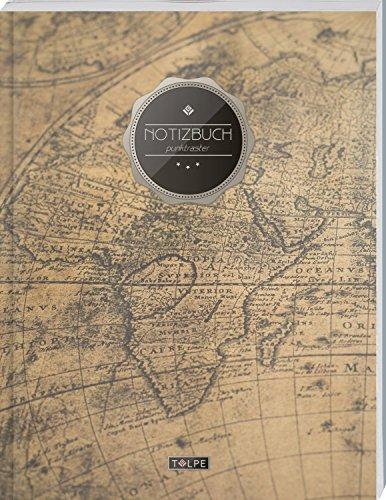 """TULPE Punktraster Notizbuch A4 """"C075 Auslandsreise"""" (140+ Seiten, Vintage Softcover, Punktkariertes Papier - Bullet Journal, Dickes Notizheft, ... Gepunktete Seiten, Dot Grid Notebook)"""