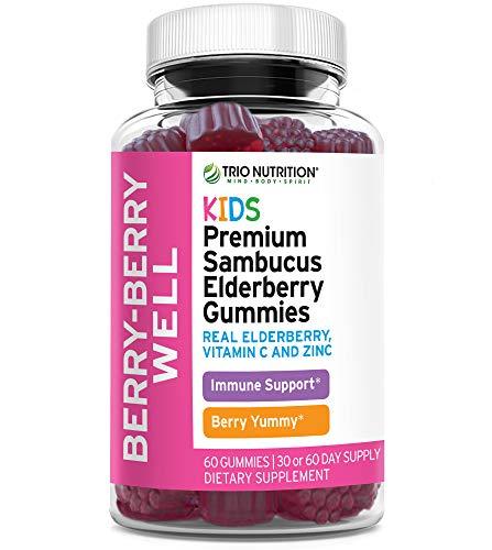 Premium Fresh Elderberry Gummies | Zinc & Vitamin C | Immune System Booster - Fresh Black Elderberries, NO Gelatin, NO Fructose, Gluten Free | Immune Support & Delicious | Trio Nutrition* (Kids)