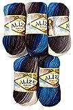 Alize 5 x 100 Gramm Burcum Wolle Petrol türkis grau Weiss mit Farbverlauf, Nr. 4200, 500 Gramm Strickwolle