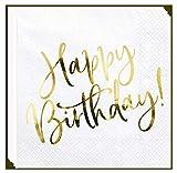 Libetui Set 20 Servietten Edel Geburtstag Party Servietten 'Happy Birthday' Deko Geburtstagsparty Kinder Erwachsene Servietten Pink (Weiß - Gold)