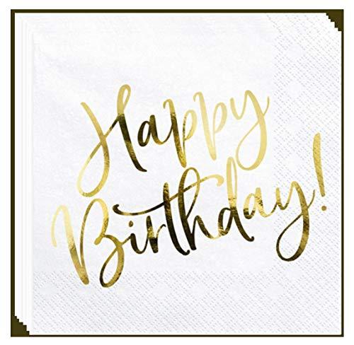 Libetui Set 20 Servietten Edel Geburtstag Party Servietten 'Happy Birthday' Deko Geburtstagsparty Servietten Weiß - Gold
