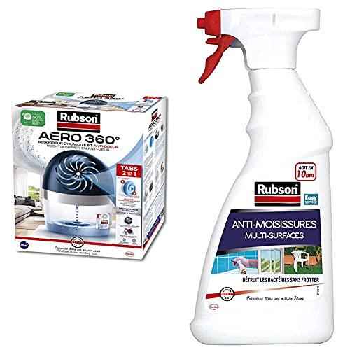 Rubson AERO 360° Absorbeur d'humidité pour pièces de 20 m², inclus 1 recharge neutre de 450 g & Vaporisateur Anti-Moisissures, Spray nettoyant puissant qui élimine la moisissure en 10 minutes. 500 ml