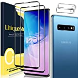 [2+2 Pack] UniqueMe 3D Tempered Glass Screen Protector and Camera Lens Protector for Samsung Galaxy S10 , Full Coverage [Easy Installation Frame] [Anti-Scratch] [Bubble Free] [Case Friendly] HD Clear Screen Protector
