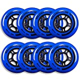 Rollerex VXT500 Inline Skate Wheels (8-Pack) (Various Size & Color Options Available) (Deep Sea Blue, 80mm) -Indoor Outdoor- Intended for Roller Blade Wheel Replacement