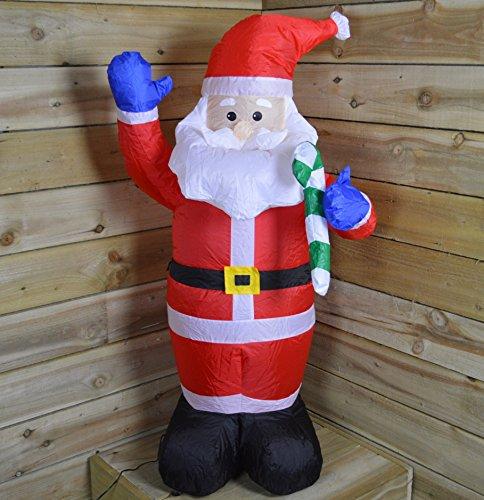 Babbo Natale Gonfiabile che si Illumina, 1,20 m, con 3 LED, da Interni ed Esterni, Impermeabile, con Spina del Regno Unito