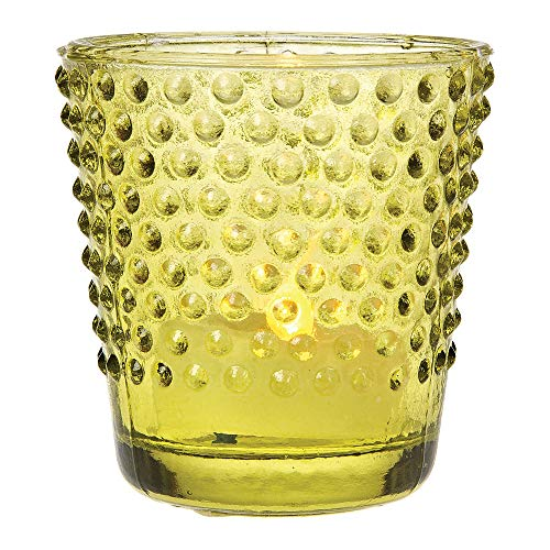 Cultural Intrigue Luna Bazaar Vintage Glass Glass Candle Holder (2.5-Inch, Candace Hobnail Design, Chartreuse Green) - For Use with Tea Lights - For Parties, Weddings, and Homes