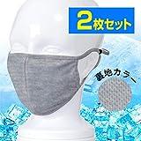 PONTAPES(ポンタペス) マスク 夏用 接触 冷感 UVカット 2個セット PAA-86M モクグレー ML ランニング マスク ウォーキング スポーツ ひんやり 洗える あらえる 涼しい 大きめ