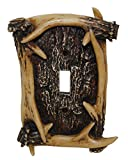 HiEnd Accents LD8200-SS-OC Rustic Antler Single Switch Decorative Wall Plate, 5' x 3.5' x 0.5', Brown