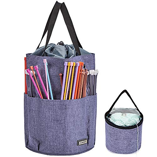 HOMEST XL Yarn Storage Tote, Tangle Free with 6 Oversized Grommets, Knitting and Crochet Organizer, Large Craft Supplies Bag with Drawstring Closure, Purple (Patent Design)