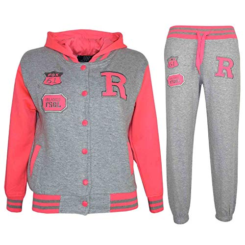 A2Z 4 Kids® Kinder Mädchen Jungen Baseball Trainingsanzug Jacke & Hose - T.S Baseball Fox Grey & Neon Pink 2-3